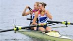 Rowers Helen Glover and Heather Stanning with their gold medals