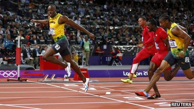 Usain Bolt winning the 100m men's final at the London Olympics