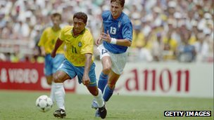 Romario in action for Brazil in the 1994 World Cup final