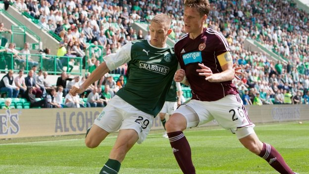 Hibernian&#039;s Ross Caldwell and Hearts&#039; Marius Zalikas during last week&#039;s SPL match
