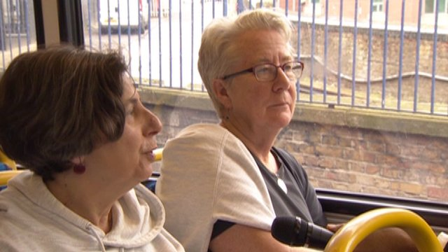 Jo Hunt and Linda Smither on a London bus