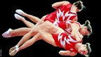 Rosannagh Maclennan of Canada warms up during podium training for trampoline