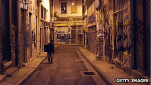 Central Athens street at night