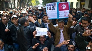 Protesters in Tunis holding placards