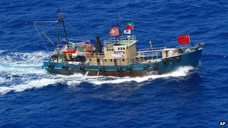 Japan Coast Guard released a photo of the Hong Kong fishing boat