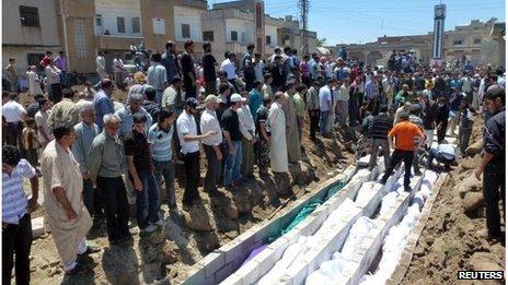 Mass burials at Houla on 26 May 2012