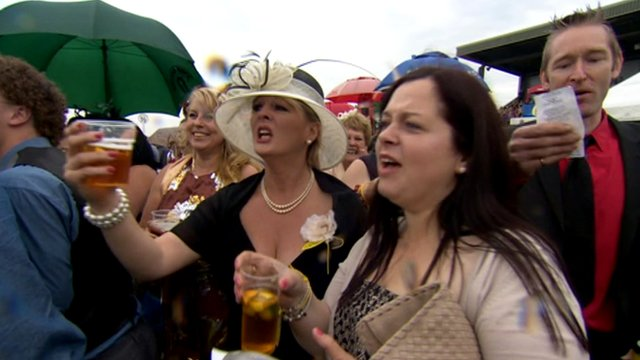 Ladies watching horse racing in Beverley