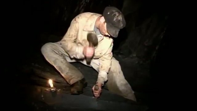 Actor in a play in a quarry