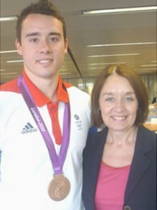 Kristian Thomas with his mother, Cath