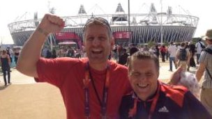 Steve Roberts (l) at the Olympic Park