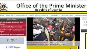 Screen grab from the Ugandan prime minister&#039;s website