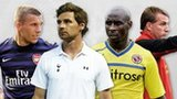 Left to right: Lukas Podolski, Andre Villas-Boas, Jason Roberts and Brendan Rodgers