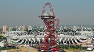 View of Olympics stadium and Orbit