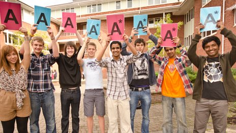 These students at Yale College in Wrexham were celebrating top grades