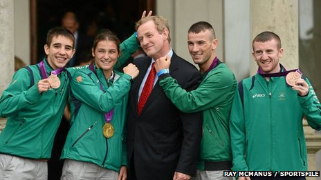 Michael Conlan with Ireland medal winners and Enda Kenny