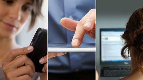 (left to right) woman looking at mobile telephone, man using tablet computer; woman looking at computer screen