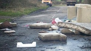 Fly tipping, including a mattress 