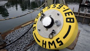 A buoy used for listening to sharks