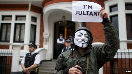 A supporter of Julian Assange, outside the Ecuadorean Embassy in London