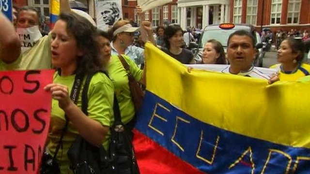 Ecuadorians protesting outside their embassy