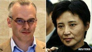 Ms Gu, right, is accused of murdering British businessman Neil Heywood
