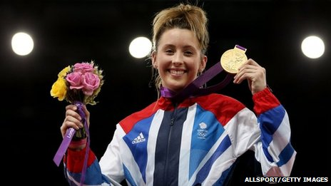 Jade Jones with her Olympic gold medal