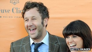 Chris O'Dowd and fiancee Dawn Porter