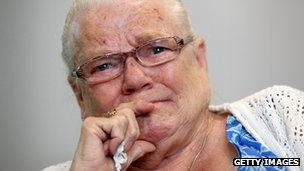 Winnie Johnson weeps as she hears the search for Keith's body has entered a dormant stage
