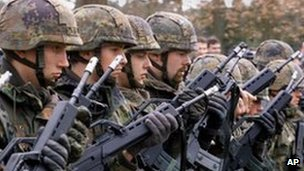 Soldiers of the German army undergoing training (File)