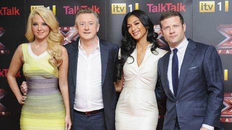 X Factor judges Tulisa Contostavlos, Louis Walsh, Nicole Scherzinger and host Dermot O'Leary