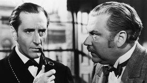 Basil Rathbone as Sherlock Holmes and Nigel Bruce as Dr Watson