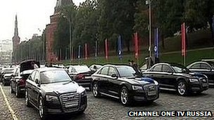 TV viewers saw rows of black Audis parked by the Kremlin ready for the Olympic heroes