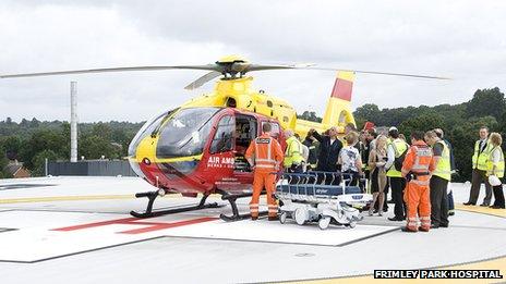 Testing the Frimley Park Hospital helipad