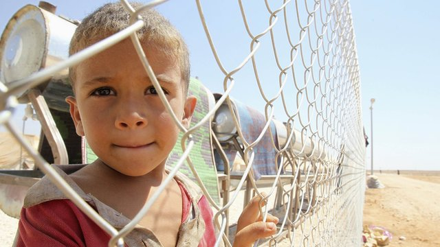 A Syrian refugee boy