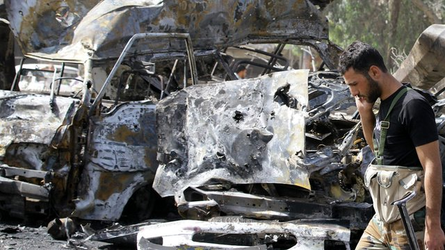 Twin suicide car-bomb attacks have killed at least 55 people and wounded 372 in Damascus, Syrian officials say.