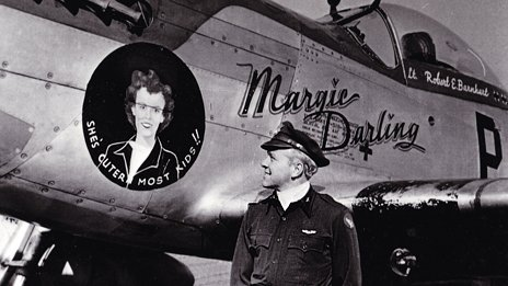 Bob Barnhart with nose art of his wife Margie