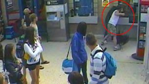 CCTV of Beckett attacking a man in Weymouth train station
