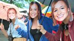 Three girls wearing Jess Ennis masks