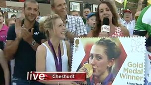 Olympic gold medallist Laura Trott at a homecoming party