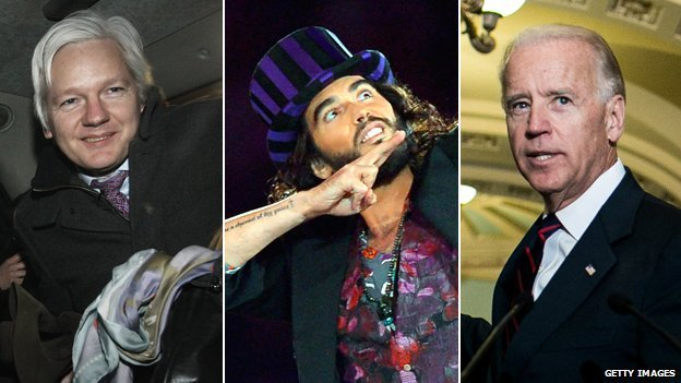 Julian Assange, Russell Brand, Joe Biden