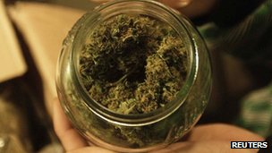 A bottle containing marijuana. File photo
