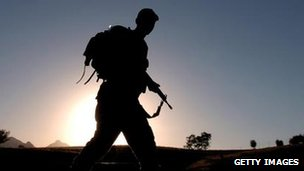 Soldier in silhouette