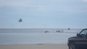 The sinking boat being rescued off Redcar