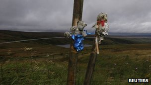Tributes to Keith Bennett tied to a post on Saddleworth Moor