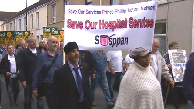 Llanelli hospital protest