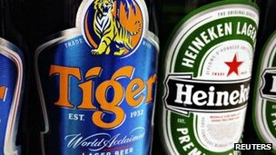 Tiger and Heineken beer bottles