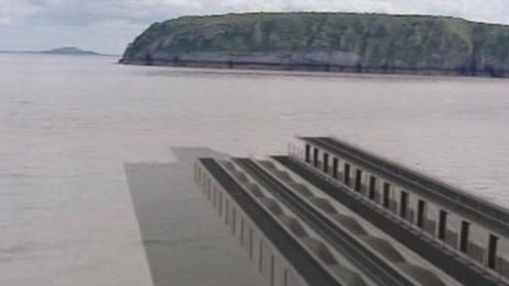 Artist&#039;s impression of one Severn barrage model