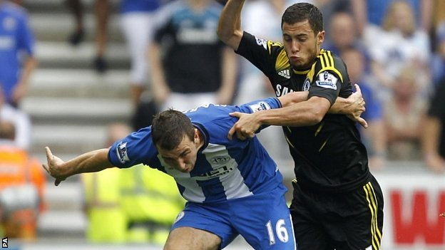 Wigan's James McArthur battles with Chelsea's Eden Hazard