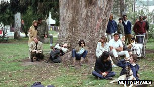 Hippies at a 1960s &quot;gathering&quot; in San Francisco&#039;s Golden Gate Park (file pic)