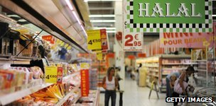Halal section in supermarket, France